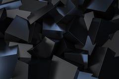 Scattering nero del contenitore di cubo sulla rappresentazione del pavimento 3d Immagini Stock Libere da Diritti