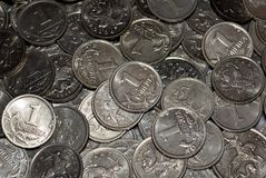 Scattering of Russian coins Royalty Free Stock Photos