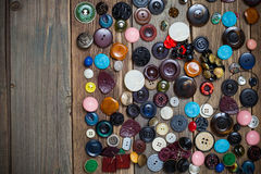 Scattering of vintage stylish buttons Stock Photo