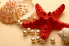Scattering white pearls Stock Photos