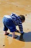 Scavando nella sabbia Fotografie Stock Libere da Diritti