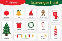 Scavenger hunt, christmas at home, different colorful pictures for children, fun education search game for kids royalty free illustration