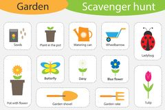 Scavenger hunt, garden theme, different colorful pictures for children, fun education search game for kids, development for. Toddlers, preschool activity, set stock illustration