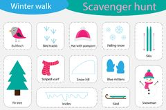 Scavenger hunt, winter walk, different colorful pictures for children, fun education search game for kids, development stock illustration