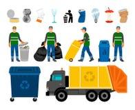 Scavengery, Abfall und Abfall farbige Ikonen Abfall-LKW und -Mülleimer, Reiniger und Hausmüll vektor abbildung