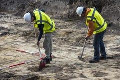 Scavo di archeologia di due uomini Immagine Stock Libera da Diritti