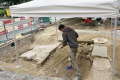 Scavo di archeologia in Lucerna Fotografie Stock Libere da Diritti