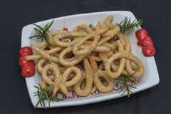 Scavuratielli, Christmas sweets of italian tradition. Cilento fo. Od. Fried donuts covered in honey Stock Image