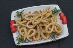 Scavuratielli, Christmas sweets of italian tradition. Cilento fo. Od. Fried donuts covered in honey Stock Photography