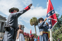 SCConfederateFlagRally. Columbia, South Carolina - July, 10, 2017: Confederate reenactor Braxton Spivey of Charleston, South Carolina is joined by a fellow Stock Image