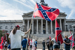 SCConfederateFlagRally. Columbia, South Carolina - July, 10, 2017: A few dozen of Confederacy supporters display their loyalty to the Confederate flag during the Royalty Free Stock Photos