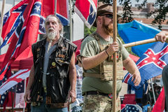 SCConfederateFlagRally. Columbia, South Carolina - July, 10, 2017: A few dozen of Confederacy supporters display their loyalty to the Confederate flag during the Stock Photo