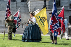 SCConfederateFlagRally. Columbia, South Carolina - July, 10, 2017: A few dozen of Confederacy supporters display their loyalty to the Confederate flag during the Royalty Free Stock Images