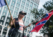 SCConfederateFlagRally. Columbia, South Carolina - July, 10, 2017: A few dozen of Confederacy supporters display their loyalty to the Confederate flag during the Stock Photos