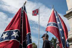 SCConfederateFlagRally. Columbia, South Carolina - July, 10, 2017: A few dozen of Confederacy supporters display their loyalty to the Confederate flag during the Royalty Free Stock Photography