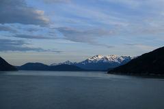 Sceanic white capped mountains in Alaska Stock Images