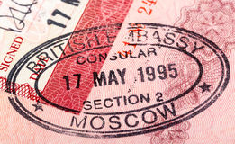 Sceau britannique dans votre passeport Images stock