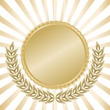 Sceau d'or avec des rayons Image stock