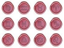 Sceau de cire avec des signes de zodiaque illustration libre de droits