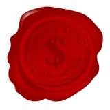 Sceau de cire avec la garantie de dos d'argent illustration stock