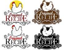 Sceau/repère/graphisme initiaux de recette. version de poule Photographie stock libre de droits