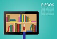 Sceglie i libri elettronici nel deposito di Internet illustrazione vettoriale