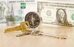 Scegliendo la giusta valuta nel viaggio - la chiave a successo Fotografia Stock