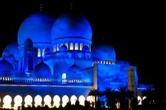Sceicco Zayed Grand Mosque dell'Abu Dhabi alla notte Immagini Stock Libere da Diritti