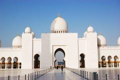 Sceicco Zayed Grand Mosque durante il tramonto Fotografia Stock Libera da Diritti
