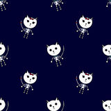 Sceleton猫样式万圣夜 免版税库存图片