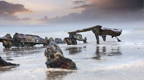 Sceleton. Ruins of an armored vehicle at Utah Beach, Normandy, France royalty free stock photography