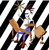 Sceleton för vektor för punkrockhandteckning som moican spelar valsarna Royaltyfri Fotografi