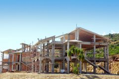 Sceleton of new suburb cottage house Royalty Free Stock Photo