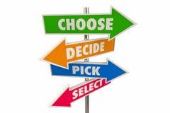 Scelga decidono che segni Choice scelti 3d IllustrationChoose della freccia di decisione della scelta decide i segni Choice scelt immagini stock