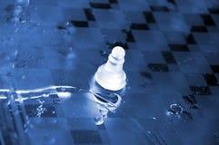 Scelga il pegno bianco sulla scacchiera di vetro bagnata. Immagine Stock
