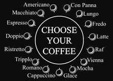 Scelga il vostro modello di vettore di progettazione del caffè Immagine Stock Libera da Diritti
