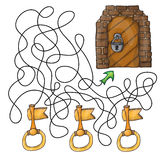Scelga la chiave alla porta - gioco del labirinto per i bambini Immagini Stock
