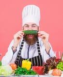 Scelga lo stile di vita vegetariano Ortaggi freschi della tenuta del grembiule del cappello del cuoco dell'uomo Concetto vegetari fotografia stock