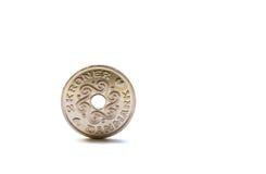 Scelga una moneta delle due corone scandinave danesi Fotografia Stock