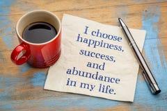 Scelgo la felicità nella mia vita immagine stock