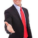 Scellez une affaire avec une prise de contact Photos libres de droits