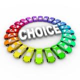 Scelta - automobili colorate intorno alla parola Fotografie Stock Libere da Diritti