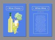 Scelta del vino bianco con l'illustrazione di vettore del testo Fotografia Stock Libera da Diritti
