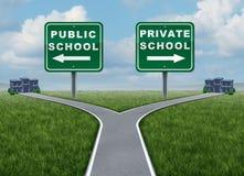 Scelta della scuola privata e del pubblico Immagine Stock Libera da Diritti