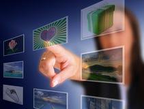 Scelta dello schermo attivabile al tatto immagine stock