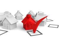 Scelta di concetto della casa con la casella di controllo Fotografia Stock