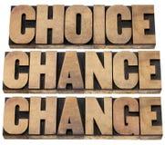Scelta, probabilità e cambiamento immagine stock