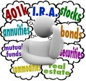Scelte di pensionamento di pianificazione finanziaria del pensatore di opzioni di investimento Immagine Stock