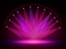 Scen świateł okręgu projektory w zmroku Zdjęcie Royalty Free