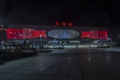 Scena ad alta velocità di notte della stazione ferroviaria di Wuhu Fotografie Stock Libere da Diritti